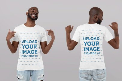 Front and Back T-Shirt Mockup of a Man Pointing at Himself 29608