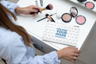 Pouch Mockup of a Woman Doing Her Makeup 29983