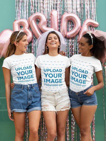 T-Shirt Mockup of Three Friends at a Bachelorette Celebration 29665