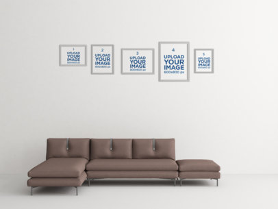 Mockup Featuring Five Art Prints Hanging over a Modern Fabric Couch 341-el