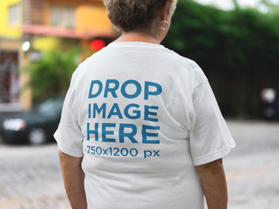 Mockup of an Elder Lady Wearing a Tshirt from the Back a10939b