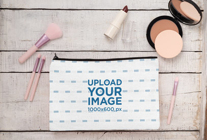 Mockup of a Cosmetic Pouch Placed Next to Some Makeup 29987