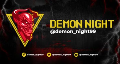 Horror Twitch Banner Template with a Horned Demon Illustration 1964m