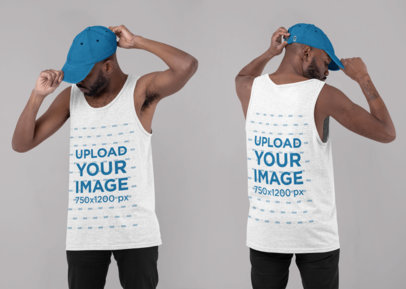 Both-Sides View Mockup of a Man Wearing a Heather Tank Top at a Studio 29647