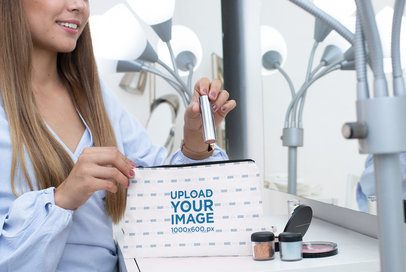 Mockup of a Woman Putting Her Makeup in a Pouch 29984