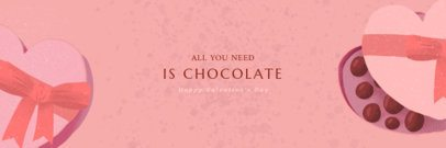 Valentine's day Twitter Header Template with Chocolate Treat Illustrations 1096f