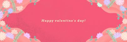 Twitter Banner Template for Valentine's Day with a Frame of Flowers 1096i