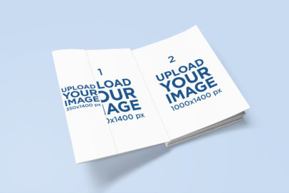 Mockup of an Open Hard Book Cover with a Sleeve 848-el