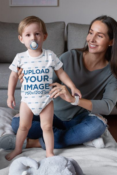 Onesie Mockup of a Baby Boy with His Mom 30010
