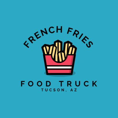 Fast Food Logo Template for a French Fries Food Truck 1213h 42-el