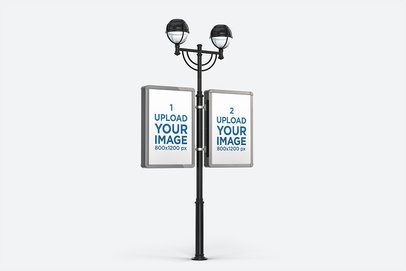 Mockup of Two Advertising MUPI Attached to an Urban Lamp Post Against a Customizable Background 454-el