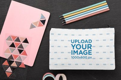 Mockup of a Pouch by Some School Supplies 29994