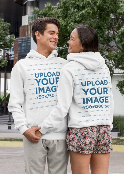 Front and Back Mockup of a Couple Wearing Hoodies 29770