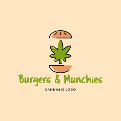Fast Food Restaurant Logo Maker with a Marijuana Leaf Between Two Burger Breads 2648e
