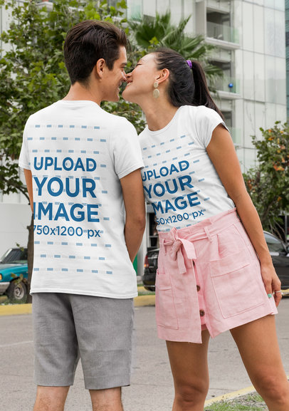Mockup of a Couple Wearing Customizable T-Shirts Seen from Both Sides
