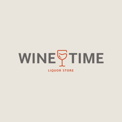 Minimalist Liquor Store Logo Template with a Glass of Wine Graphic