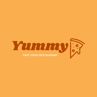 Fast Food Restaurant Logo Template with a Pizza Clipart