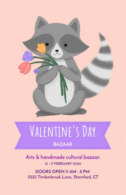 Valentine's Day Bazaar Flyer Maker with a Cute Raccoon Illustration 200i-1962