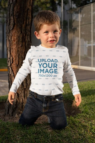 Mockup of a Boy in a Onesie Playing in the Backyard 29914