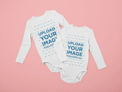 Mockup of Two Long Sleeve Onesies 29843