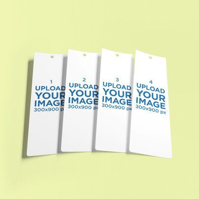 Mockup of Four Bookmarks Lying Together on a Customizable Backdrop 884-el