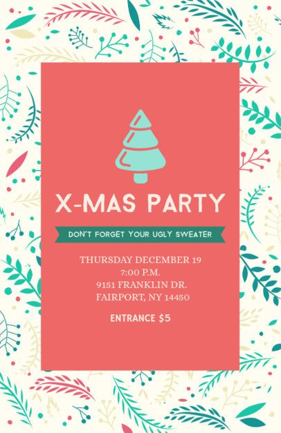 Holiday Flyer Template for a X-mas Party with Colorful Ornaments 109b-112-el
