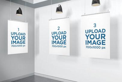 Mockup of Three Posters Inside a Minimalistic Scenario 904-el