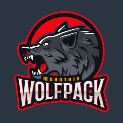Gaming Logo Template Featuring Aggressive Wolf Graphics 2680