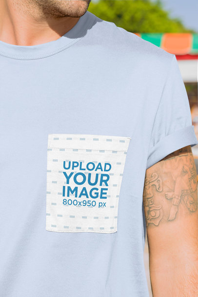 Mockup of a Tattooed Man Wearing a Square Pocket Tee 30043
