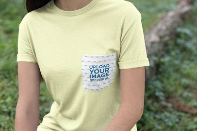 Pocket Tee Mockup of a Woman by a Green Area 30079