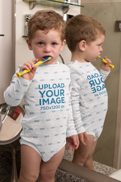 Mockup of a Baby Boy Wearing a Onesie While Brushing His Teeth 29916