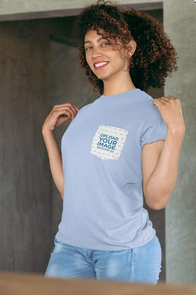 Pocket Tee Mockup Featuring a Joyful Woman Showing off Her T-Shirt 30065