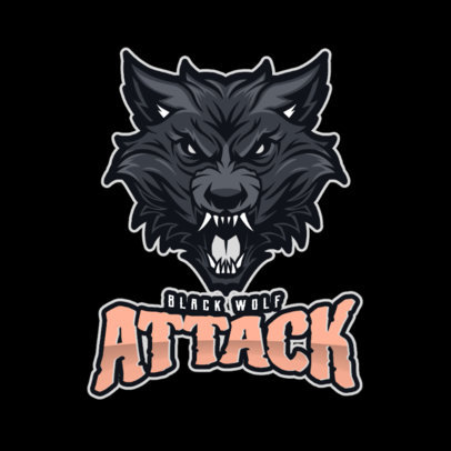 Gaming Logo Template with an Aggressive Wolf Face 2680d