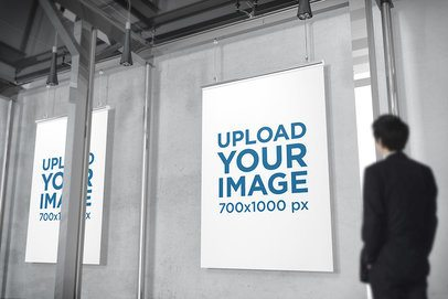 Mockup of Two Posters Displayed Inside a Minimalist Building 907-el
