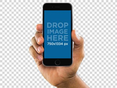iPhone Mockup of a Black Man Holding an iPhone 6 a10997