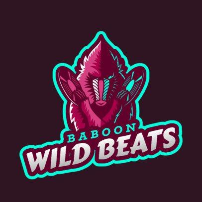 DJ Logo Template Featuring a Baboon Illustration 2656g-2658