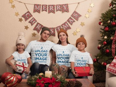 T-Shirt Mockup of a Family at Their Christmas Decorated Living Room 30198