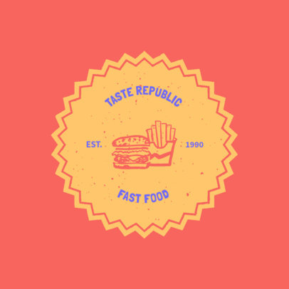 Fast Food Restaurant Logo Template Featuring a Burger and Fries Clipart 1013j 36-el