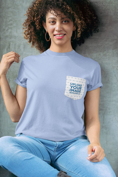 Pocket Tee Mockup Featuring a Smiling Woman with Natural Hair 30066