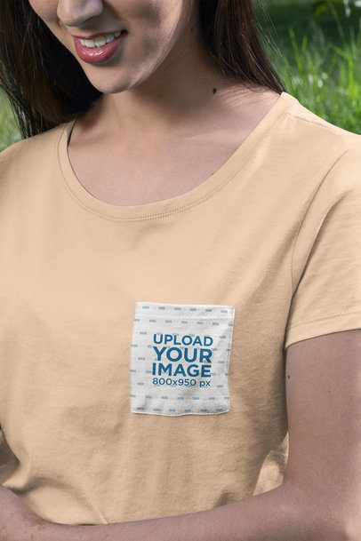 Pocket Tee Mockup Featuring a Woman with Red Lips 30075