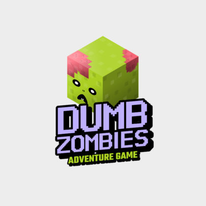 Gaming Logo Maker with an 8bit Zombie Graphic in Reference to Minecraft 2667g