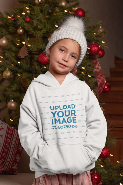 Pullover Hoodie Mockup of a Girl in Front of a Christmas Tree 30189