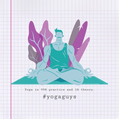 Instagram Post Maker Featuring Illustrations of People Doing Yoga 1975