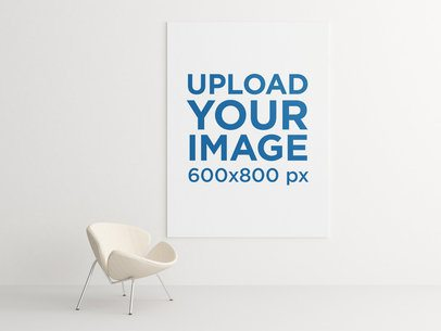 Minimal Mockup of an Art Print Hanging in a Contemporary-Styled Room 838-el