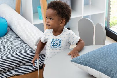 Sublimated Onesie Mockup of a Baby Boy Playing in His Room 30027