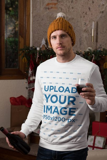 Christmas Mockup of a Man Wearing a Crewneck Sweatshirt and Drinking Wine 30202