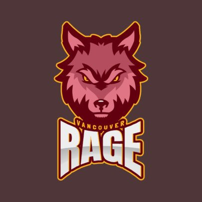 Gaming Logo Template with a Raging Wolf Clipart 2680j