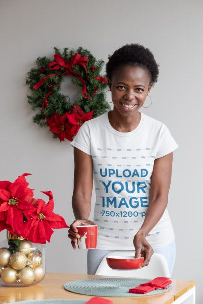 Mockup of a Woman with a Customizable T-Shirt at a Christmas Dinner 30365