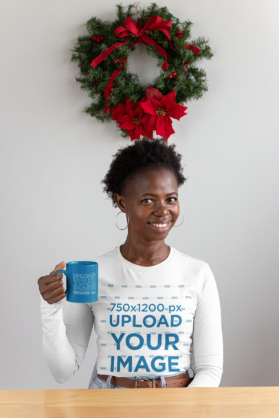 Long Sleeve Tee Mockup Featuring a Woman Holding an 11 oz Coffee Mug Mockup 30352