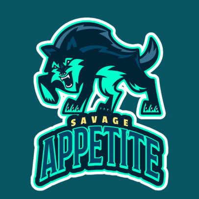 Logo Generator for a Gaming Squad Featuring a Savage Wolf Graphic 2695b